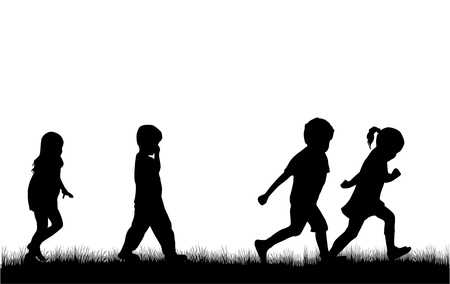 nature silhouette: Children silhouette in nature .