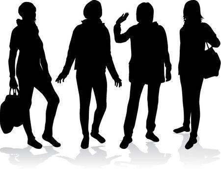 Vrouwen silhouetten. Stock Illustratie