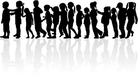 Enfants silhouettes. Banque d'images - 48671666