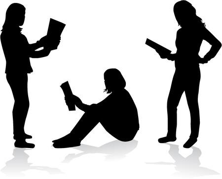 A woman reading a book - conceptual profiles. Ilustrace