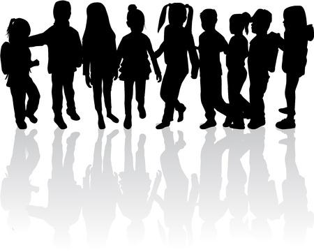 Enfants silhouettes. Banque d'images - 48671739