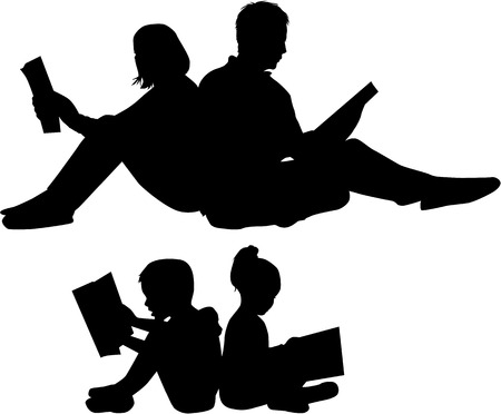 literary man: Silhouette of a family reading a book Illustration