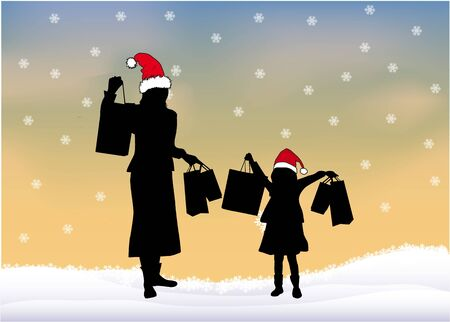 long black hair: Girls on Christmas shopping.