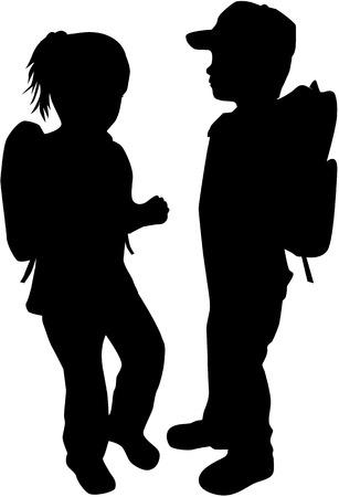 niño con mochila: Niños siluetas.
