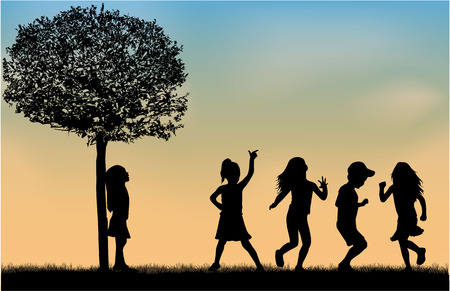 happy family nature: Children silhouettes.