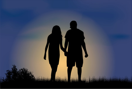 position love: Silhouettes de couple. Illustration