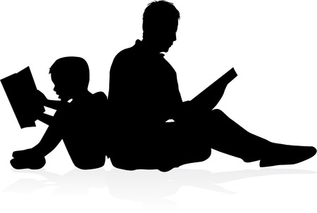 father and son: Book reading .