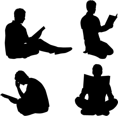 personas leyendo: Silueta de un hombre con un libro. Vectores