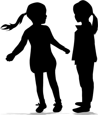 party girl: Children silhouettes.