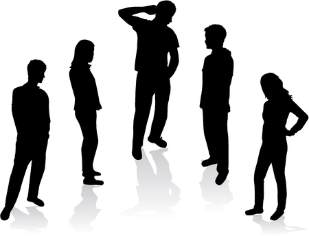 small group: Silhouettes of people - a small group.