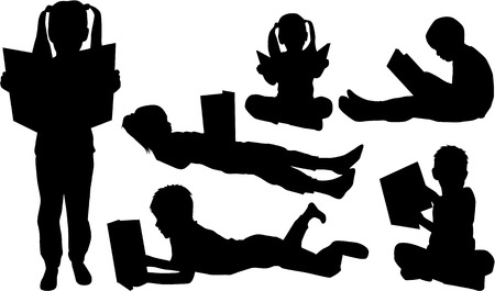 Silhouettes of children with the book.