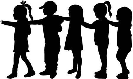 Enfants silhouettes. Banque d'images - 50665625