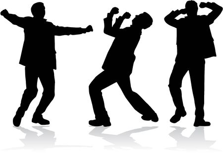 Dancing men silhouettes Stock Vector - 50665629