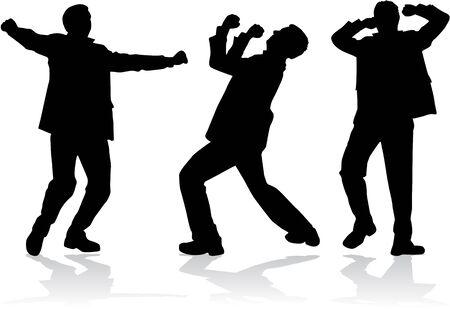 Dancing men silhouettes Illustration