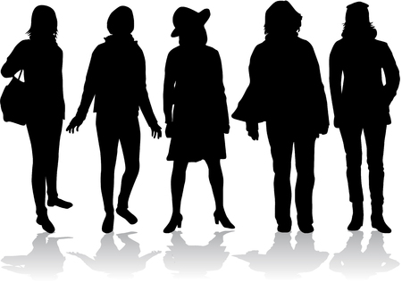 woman shoes: Women silhouettes Illustration
