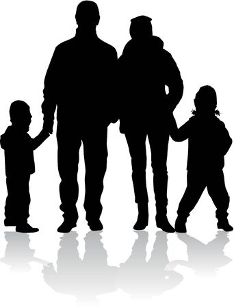 person silhouette: Family silhouettes. Illustration