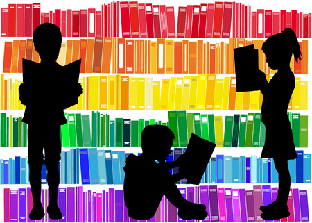 silueta humana: Niños que leen el libro. Vectores