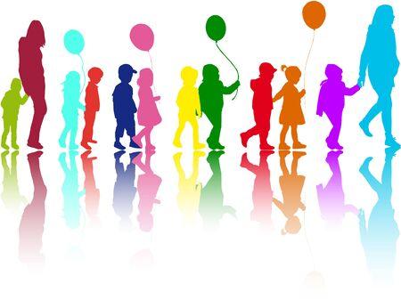 Groep kinderen op een wandeling. Stock Illustratie
