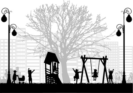 trees silhouette: Children at the playground.
