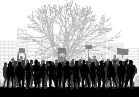menschenmenge: Eine große Gruppe von Demonstranten Männer.
