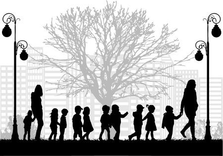preschool teacher: Group of children on a walk.