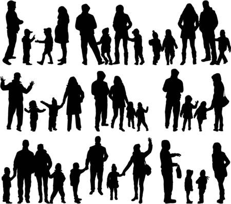 large family: Family silhouettes - large group.
