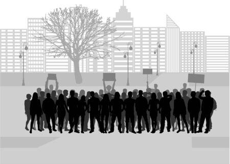 demonstrators: A large group of demonstrators men.