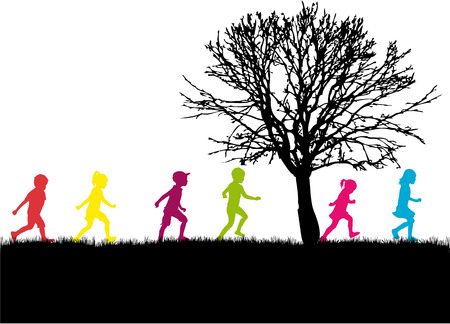 people shadow: Children silhouette in nature .