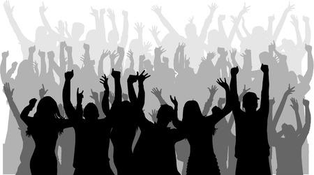 lidé: Tančící siluety lidí. Ilustrace