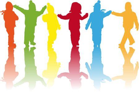 Children silhouettes .