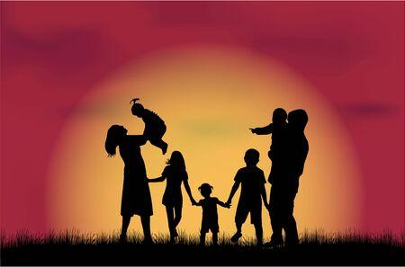 silueta niño: Siluetas de la familia en la naturaleza.