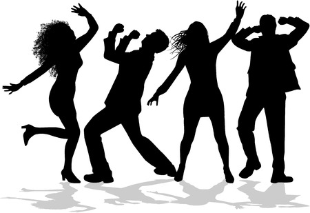 silhouettes: Dancing people silhouettes.