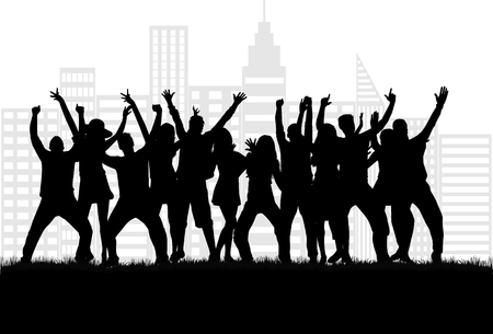 grunge music background: Dancing people silhouettes.