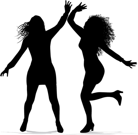 sexy teenage girl: Dancing women  silhouettes.