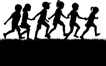 niños caminando: Niños siluetas.