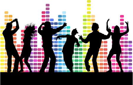 baile: Bailando siluetas personas. Vectores