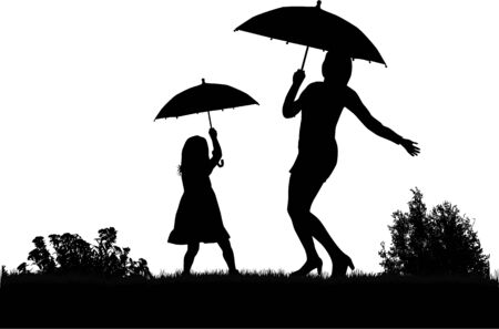 wet girl: Silhouettes under the umbrella.