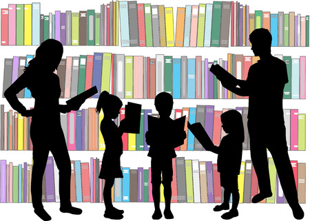 books library: Silhouette of a family reading a book.