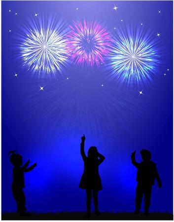 fireworks show: Fireworks show . Children silhouettes.