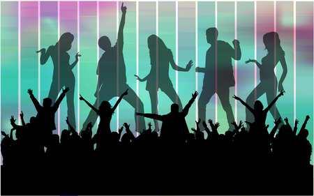 groups of people: Bailando siluetas personas. Vectores
