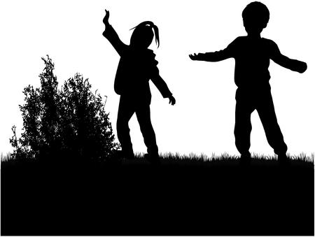 alike: Children silhouettes.