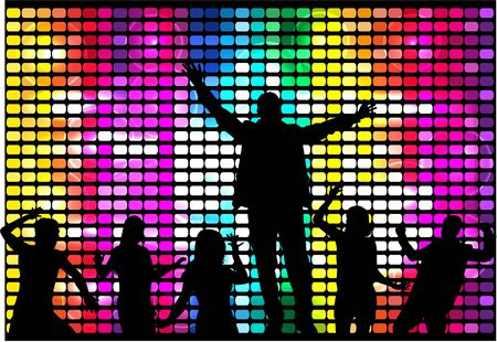 disco dancer: Dancing people silhouettes.