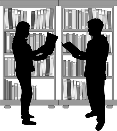literary man: People in collection of books.
