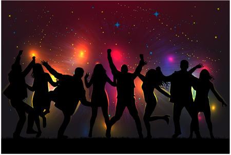 grupo de hombres: Bailando siluetas personas. Vectores