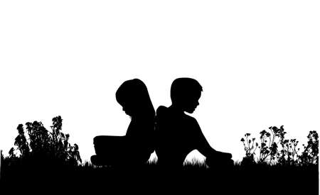 Silhouettes of couples. Resting on the grass.