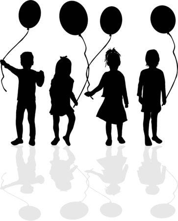alegria: Silueta de un niño con un globo