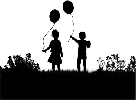 similar images: Silhouettes of children with balloon.