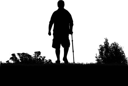 lame: The silhouette of an elderly man. Illustration
