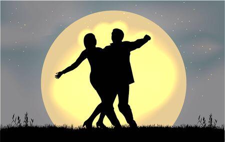 teenage couple: Dancing people silhouettes.