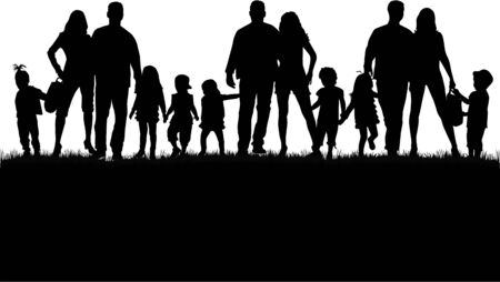 son of man: Family silhouettes in nature.